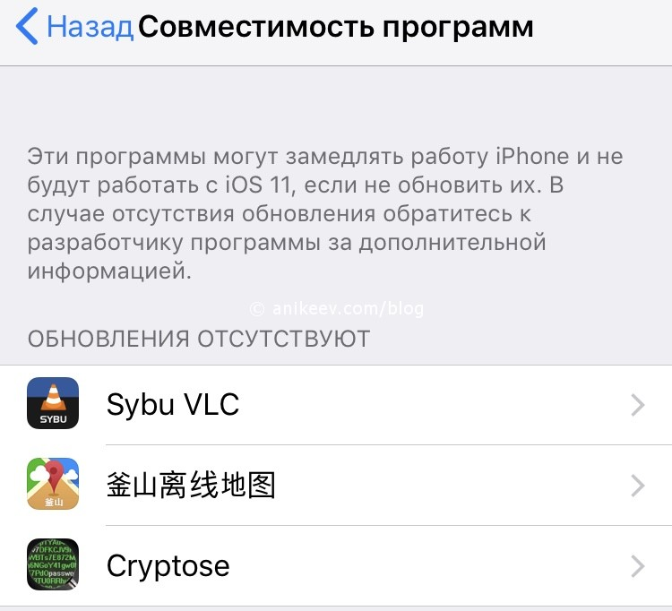ios 11 apps incompatible