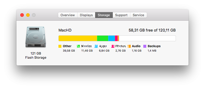 how to find the other storage on mac