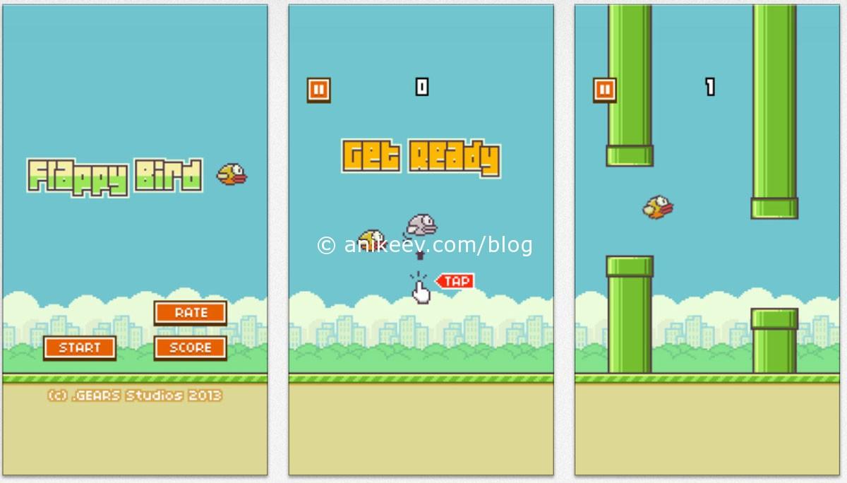 Скриншоты игры flappy bird